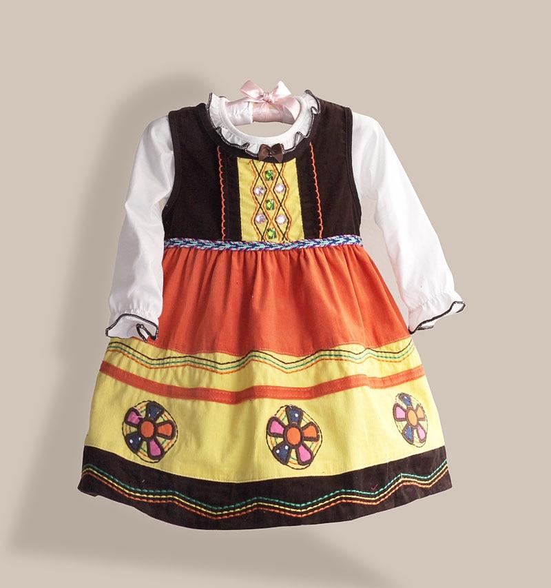Brand Baby Clothing Set Handmade Flower Girls 2PCS Set Kids Clothes Rhinestone Children Clothing for Autumn Winter 12M-4T