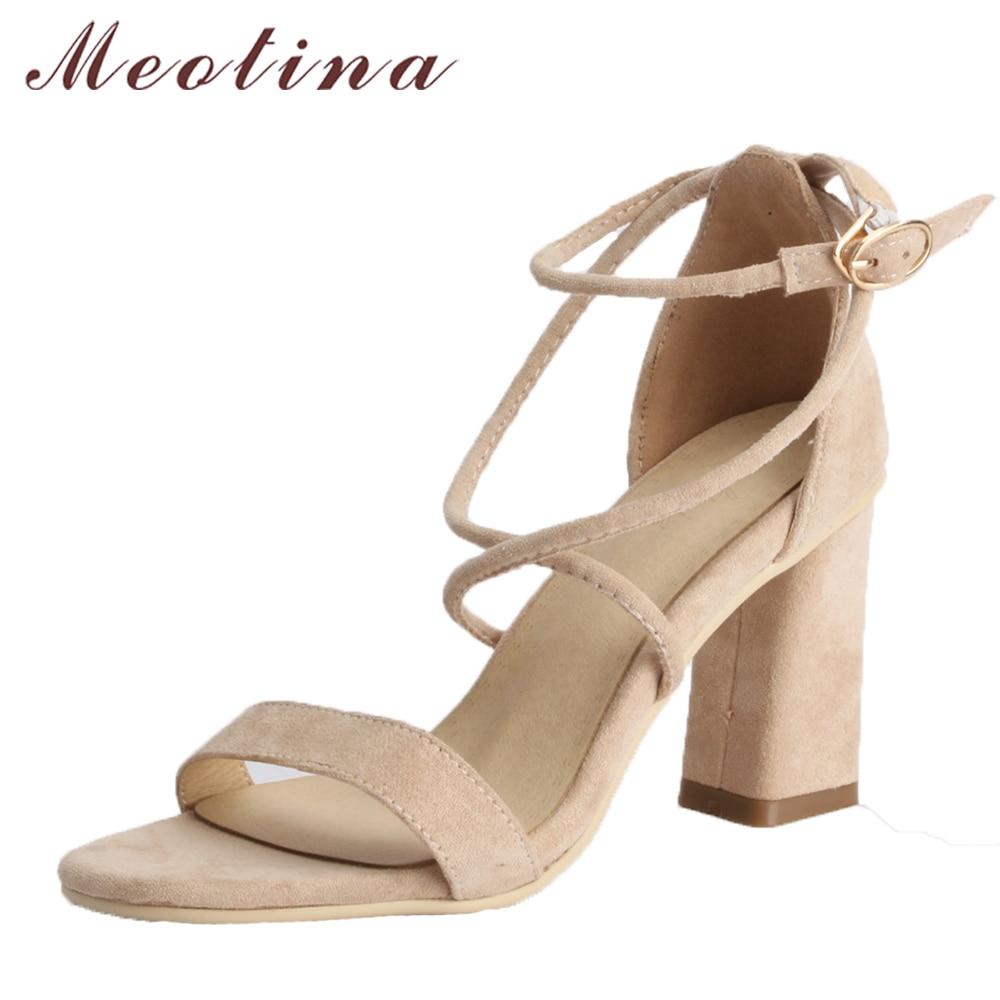 Meotina Women Sandals High Heels Ladies Summer Shoes Open Toe Buckle Female Party Shoes Beige Block Heels 2018 Large Size 33-43