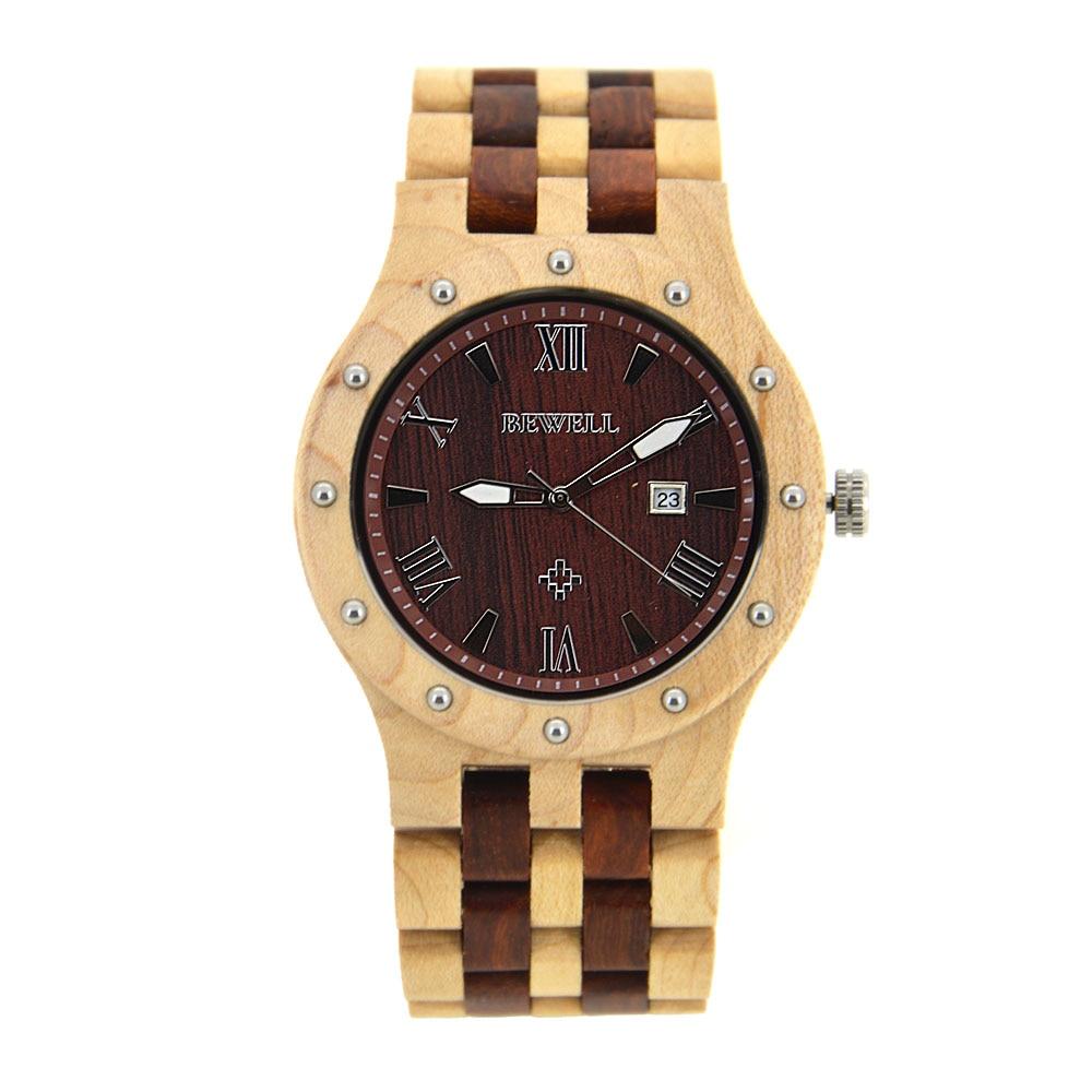 Relojes de madera para hombre BEWELL reloj de pulsera de cuarzo manos luminosas tres punteros con pantalla de calendario 10 colores diferentes 109