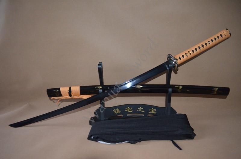 Hecho a mano completo Tang samurái japonés Katana Toad decoración del hogar espada de Kendo de Metal Damasco doblado acero negro afilado batalla listo