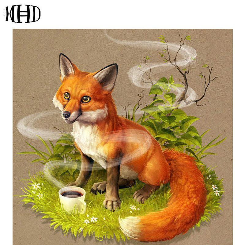 «Fox & Coffee» bordado de diamante icono diamante punto de cruz Fox Rhinestone decorativo pegatinas de pared Kit diamante pintura Animal