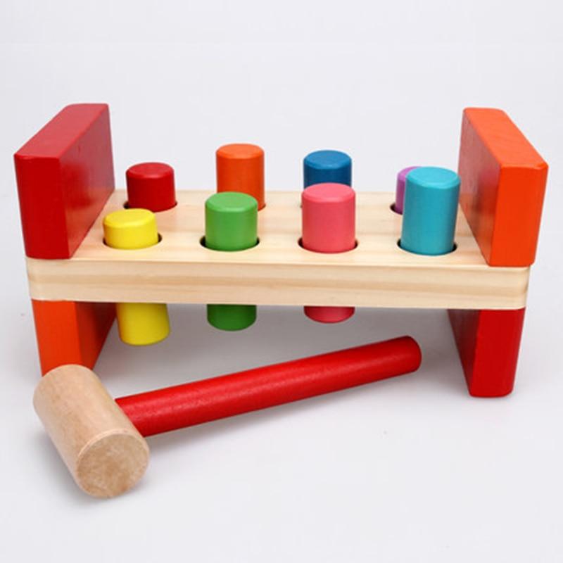 Baby Wooden Noise Maker Knock Ball Kids Hand Hammering Ball Box Kids Early Learning Educational Toys Montessor Christmas Gift