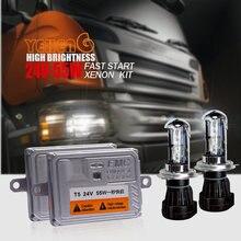 Kit de phares H4 bi-xénon 24V 55W AC   1 grand camion à démarrage rapide, HID H4 hi/lo H1 H3 H7 H8 H10 H11/9005/HB3/HB4