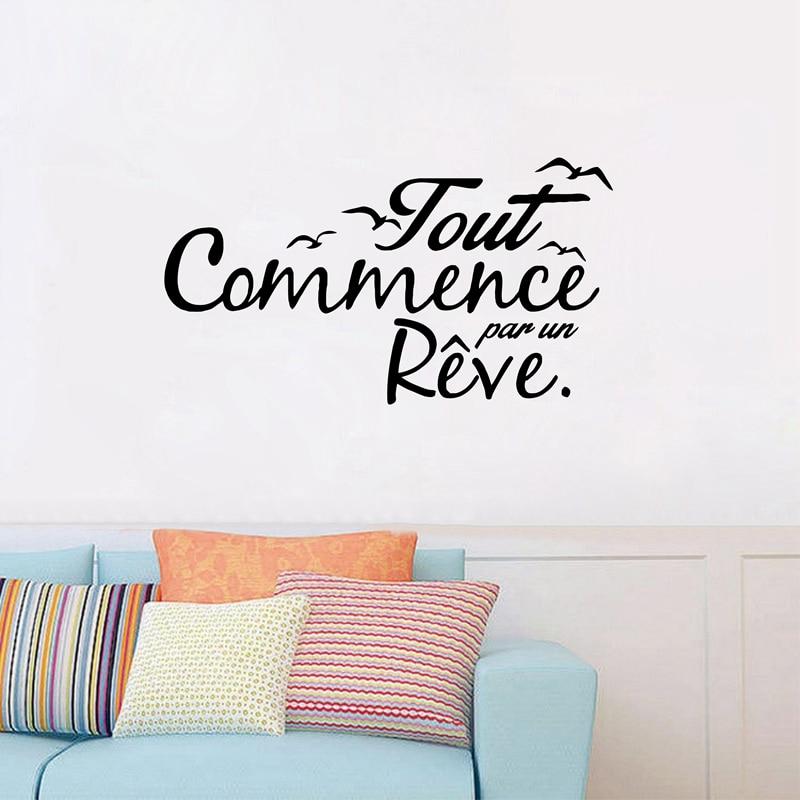 Francés inspiración cita aves rótulos sueño decoración Maison de vinilo adhesivos removibles para pared de Arte de sala de estar calcomanías