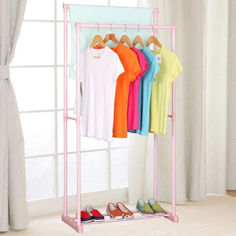 Percha doble para varilla, Perchero de ropa para balcón, estante de secado de aterrizaje interior, carril de ropa multifunción para el hogar, muebles para el hogar