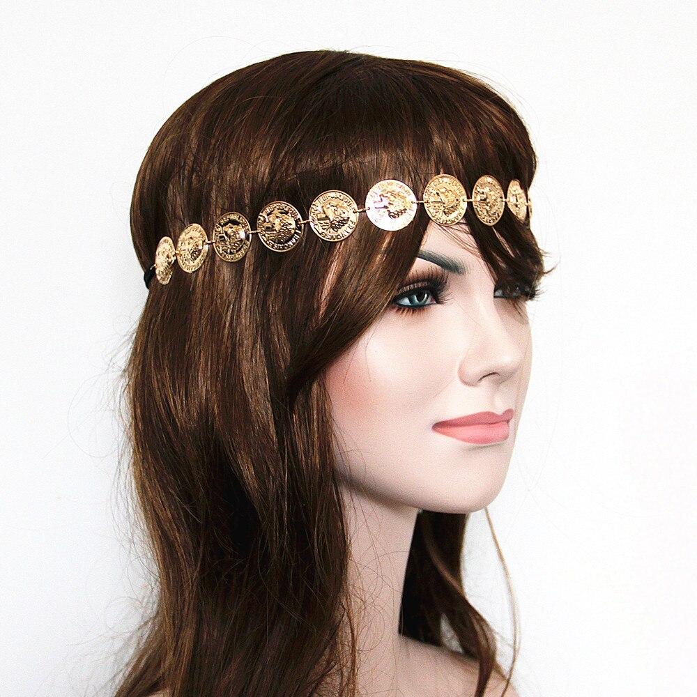 Diademas Vintage para mujer, tocado bohemio con cadena para la cabeza, diadema, pieza para el pelo, bohemio, Hippie, cadena de monedas de oro, joyería nupcial para el vientre