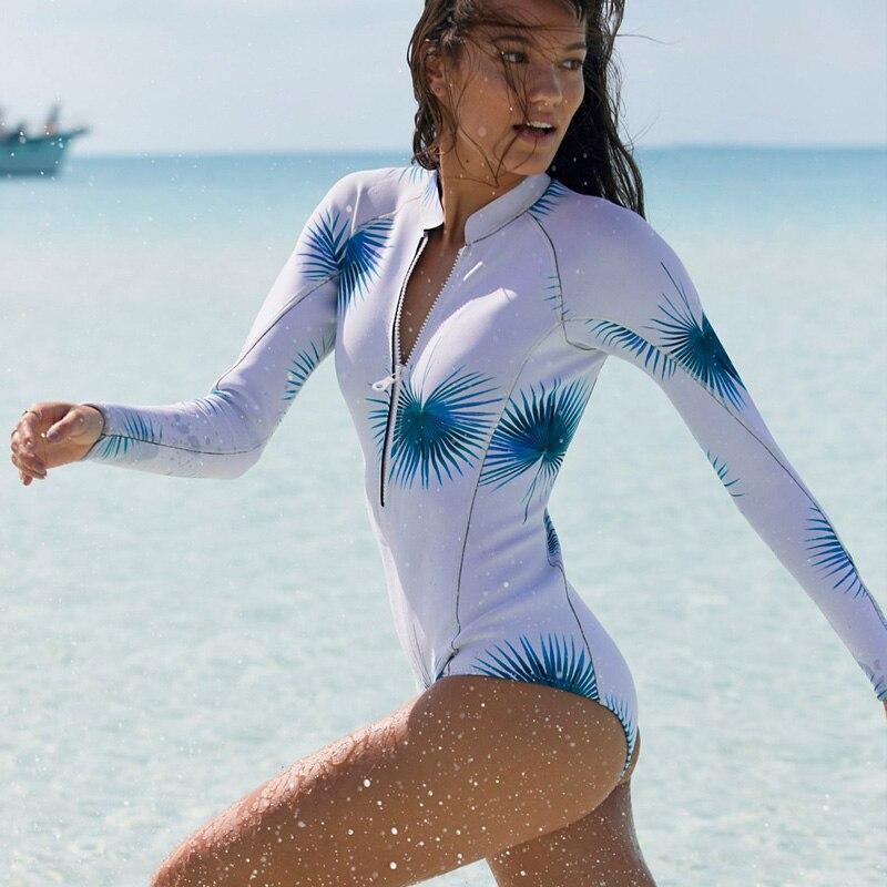 2019 Sexy Long Sleeve Swimsuit One Piece Swimwear Women Retro Print Floral Bathing Suit Surfing Bodysuit Swim Suits Monokini