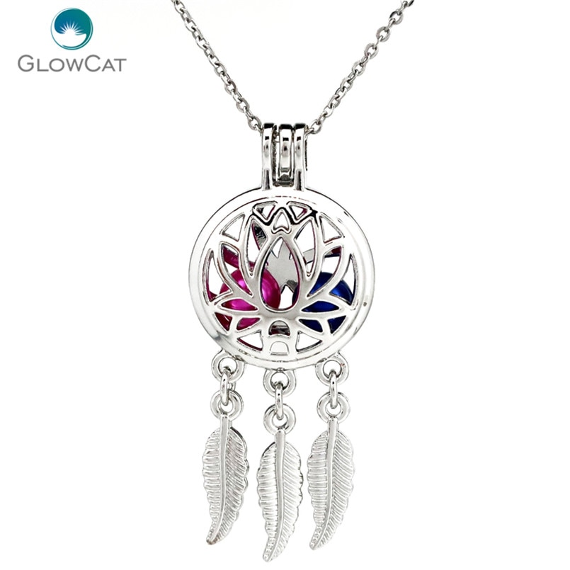 K731 Silver Alloy beauty Dream Catcher Lotus Leaf Pearl Cage Pendant Chain Aroma Essential Oil Diffu