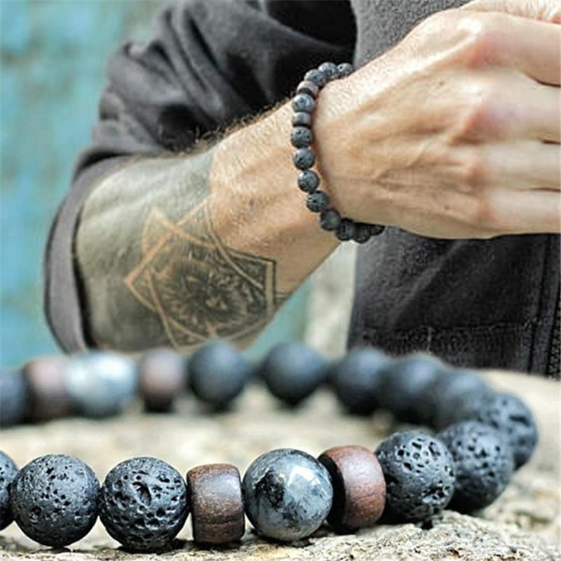 YIZIZAI натуральный вулканический камень нить с каменными бусинами браслет деревянные аксессуары из бусин черный камень для шарма мужчин женщин ювелирных изделий подарок
