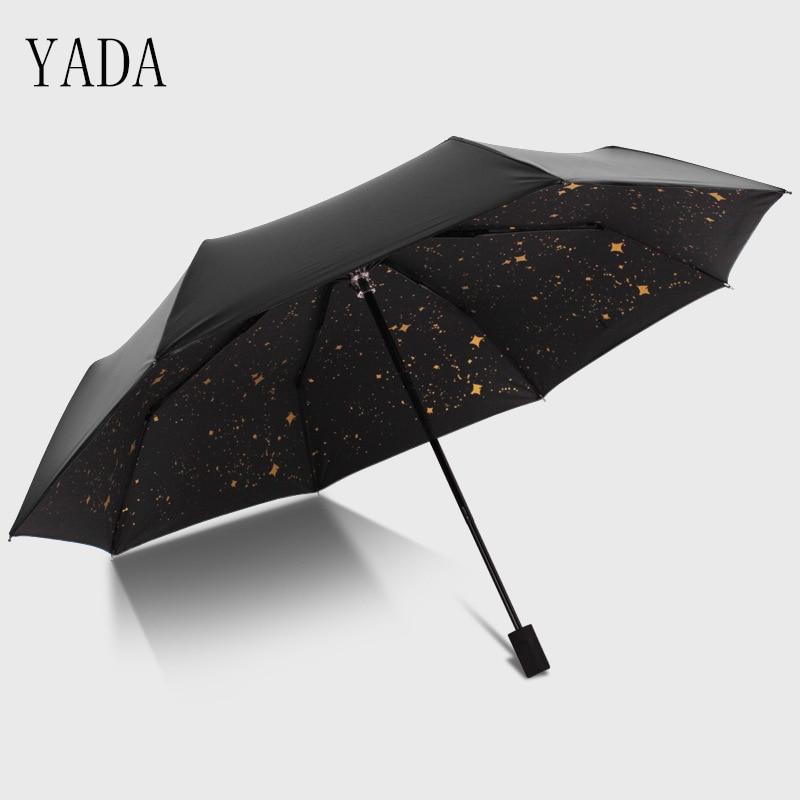 Cor de Ouro uv para as Mulheres à Prova Yada Estrela Estrelado Encantos Chuvosos Guarda-chuva Dobrável Vento Marca Guarda-chuvas Ys032 & Céu