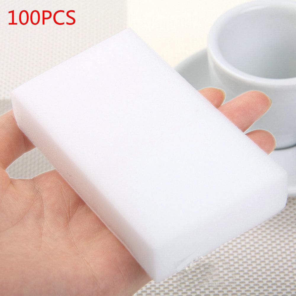 Lote de 100 unidades de esponja de melamina de alta calidad, borrador de esponja mágico, limpiador de platos para cocina, oficina, baño, limpieza 10x6x2cm