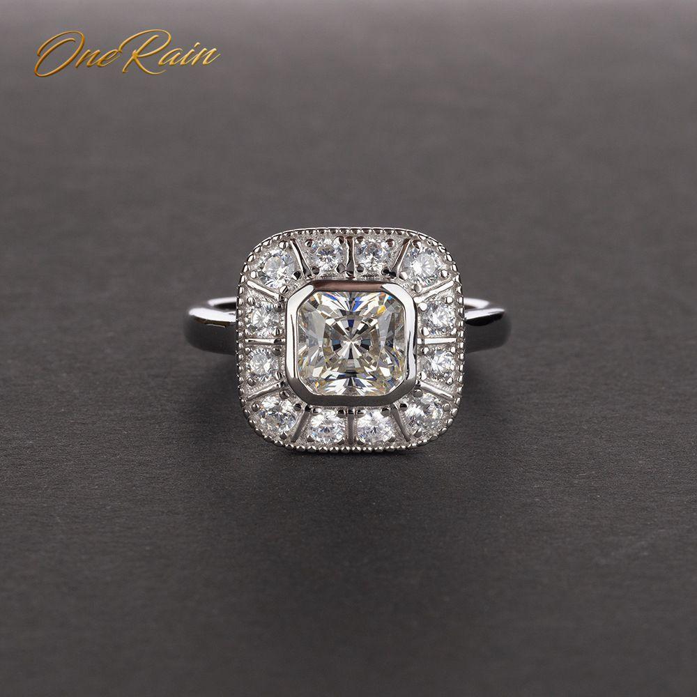 OneRain Vintage 100% 925 Sterling Silver Sapphire Topaz Citrine Diamonds Wedding Engagement Couple Women Men Gems Ring Jewelry