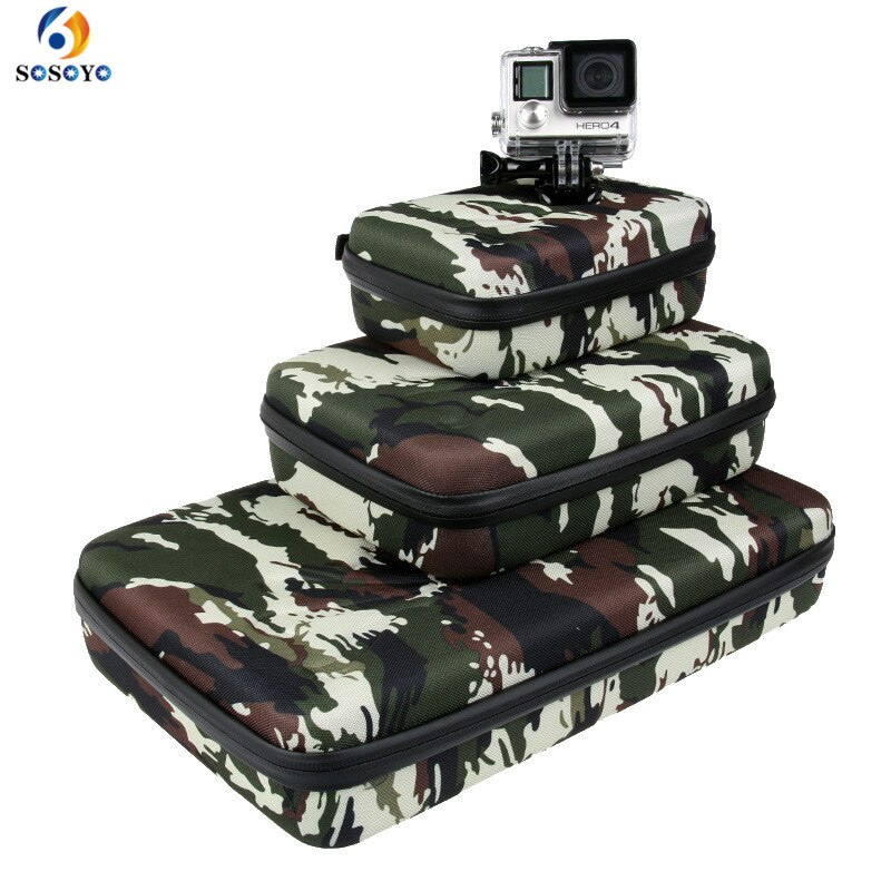 Bolsa de almacenamiento portátil caja protectora EVA para GoPro Hero 6 5 4 3 + Xiaomi Yi Sjcam accesorios de Cámara de Acción bolsa de camuflaje