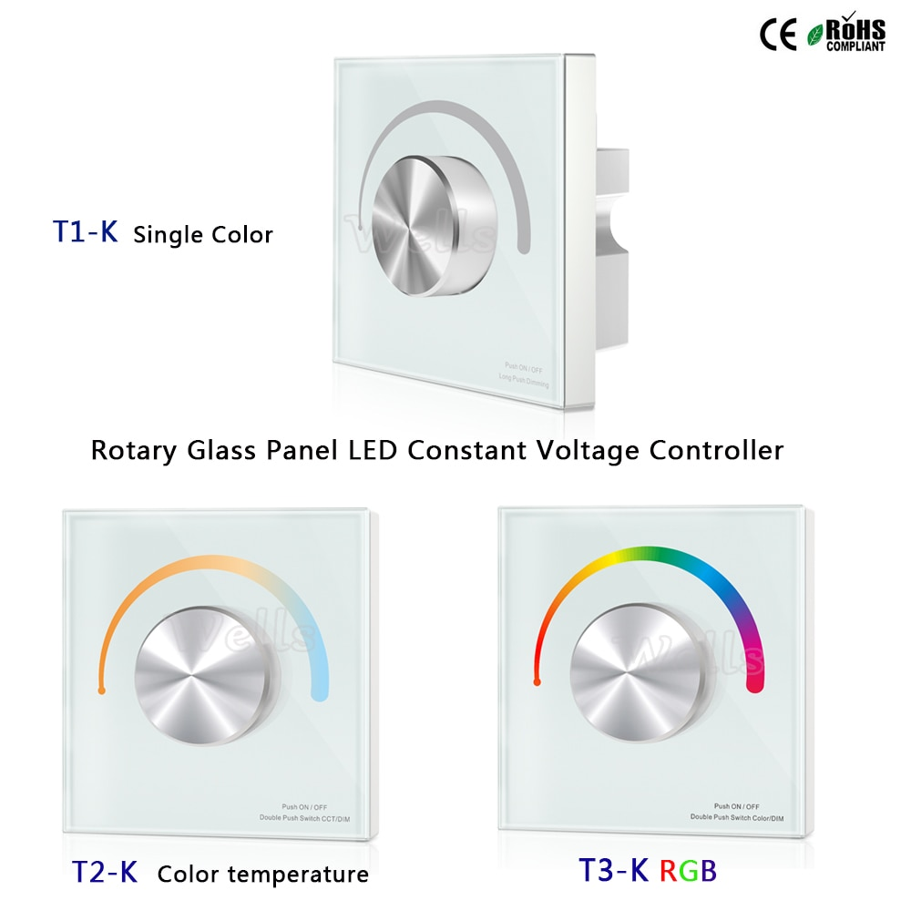 T1-K/T2-K/T3-K Panel de vidrio giratorio controlador de voltaje constante LED de un solo Color para un solo color/temperatura de color/tira de led RGB