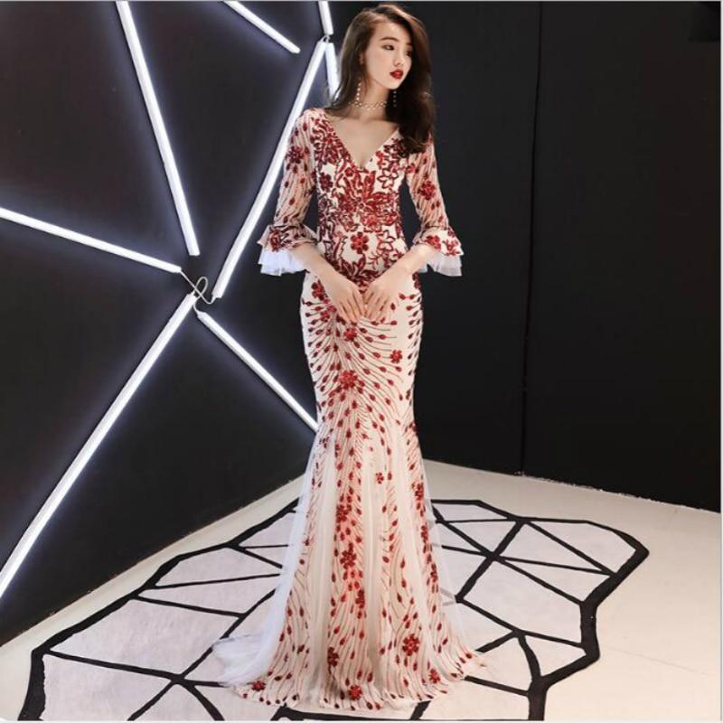 U-SWEAR 2020 New Arrival Bridesmaid Dresses Long Summer Sleeves V-neck Sequin Backless Mermaid Gown Elegant Sexy Dress  Vestidos