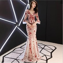 U-SWEAR 2020 New Arrival Bridesmaid Dresses Long Summer Sleeves V-neck Sequin Backless Mermaid Gown