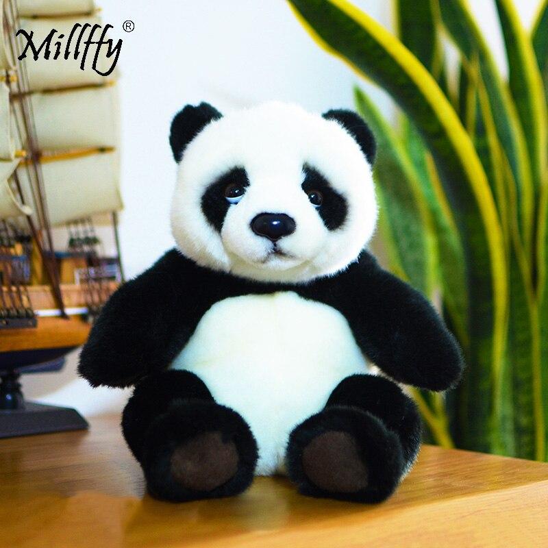 Millffy 21cm realista Panda de felpa juguete de Peluche suave Panda Plushie muñeca Peluche mascota para niños