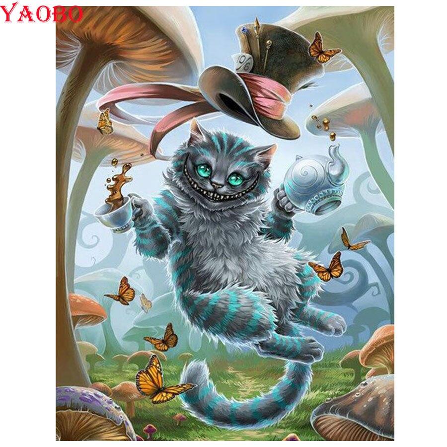 Diy pintura diamante quadrado completo/broca redonda diamante bordado alice no país das maravilhas 3d strass imagens diamante mosaico gato