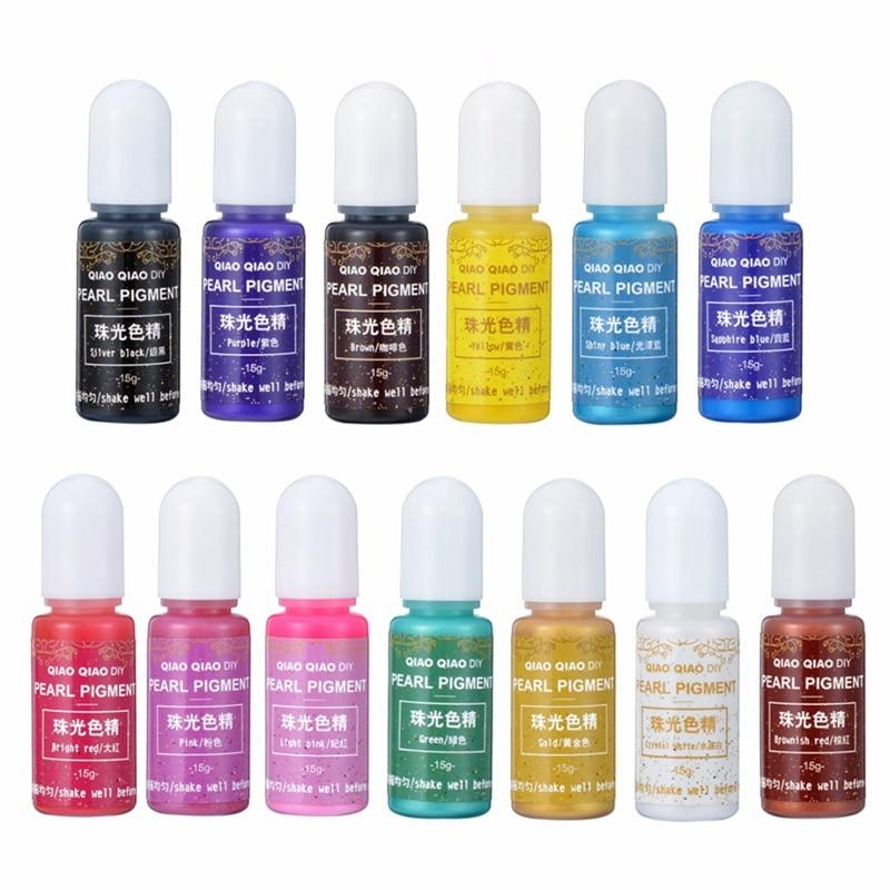 1 ud., 15g, 13 colores, pigmento nacarado, resina epoxi UV, colorante para...