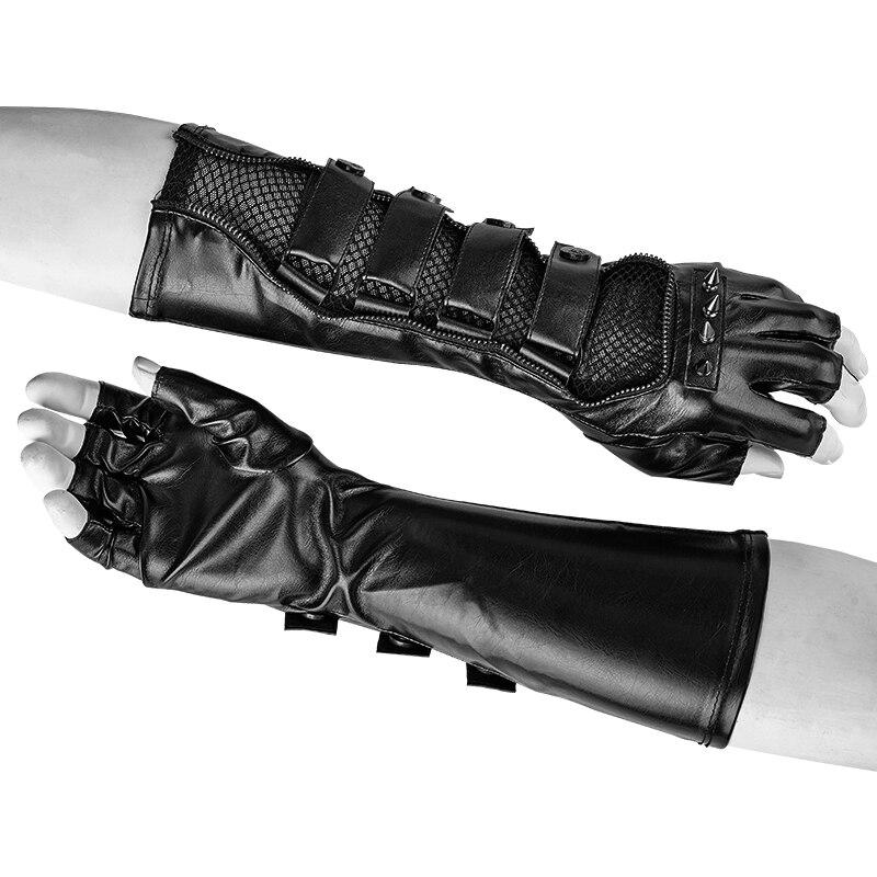 """Punk invierno hombres """"Bound Shouting"""" guantes largos negro cuero brazo calentador con botones remache mangas de brazo con Red brazo Accesorios"""