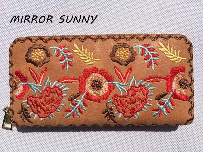 MIRROR SUNNY New PU embroidery women long wallet zipper wallet card wallet cellphone wallet large capacity