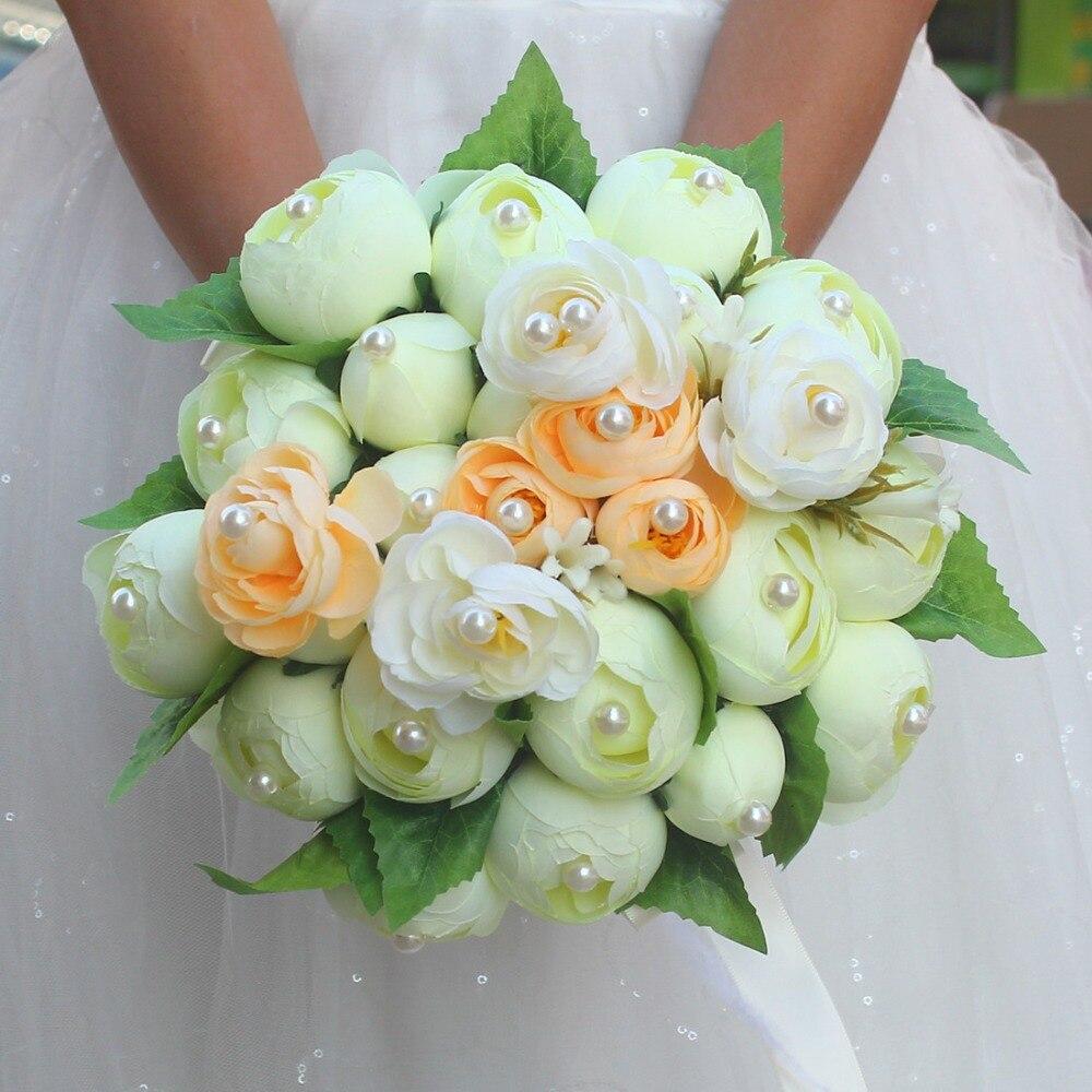 Accesorios De moda De boda hechos a mano, ramos De novia, ramo De flores De perlas, ramo De novia con broche De hoja verde, ramo De novia