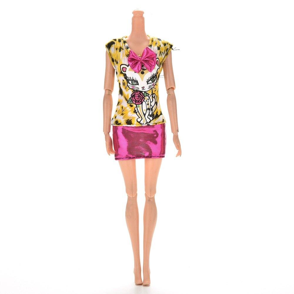 1 pçs novo bonito amarelo e rosa vestido para acessórios de boneca moda sexy vestido de leopardo gato vestido com bowknot para boneca saia curta