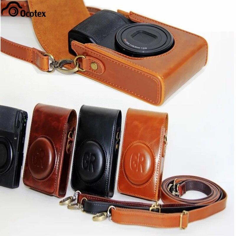 Ocotex, funda de piel sintética de alta calidad, funda para cámara, bolsa para Ricoh GR GR2 GR3 gr grii griiicolor, negro y marrón