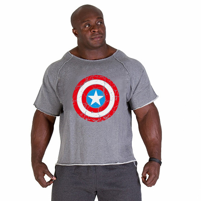 2018 camisetas para hombres, aptitud de oro, culturismo, Capitán, ícono, camisa, manga de murciélago, Tops de tela, ropa Casual 2018 para hombres
