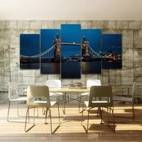 hd printed canvas poster unframed home decoration wall art 5 pieces london bridge night view living room painting modular