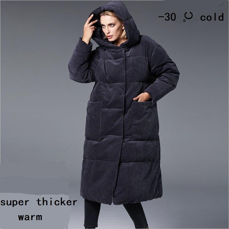 معطف شتوي مخملي مقاس كبير 5XL فوق الركبة ، معطف طويل بغطاء للرأس ، مزدوج الصدر ، دافئ ، wq116