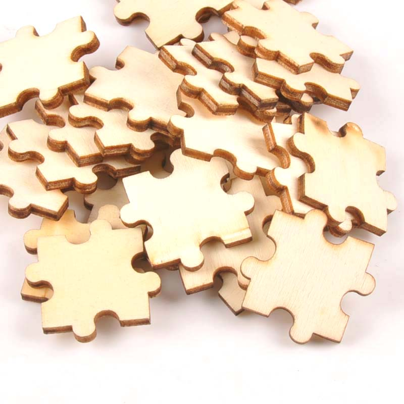 25 unids/lote decoración del hogar patrón de rompecabezas ornamento de madera sin terminar 29mm artesanía de madera Natural para álbum de recortes de manualidades hechas a mano m1819