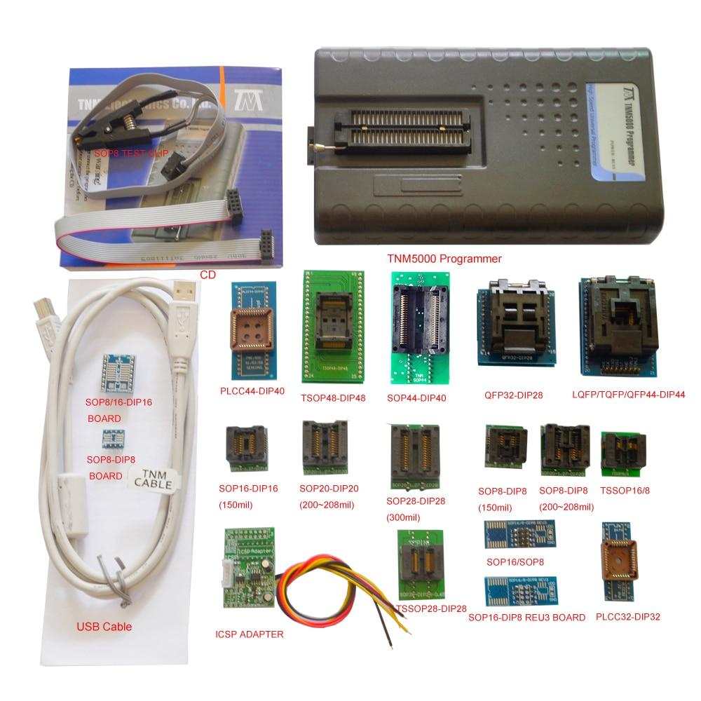 2019 neue TNM5000 USB EPROM Programmierer + 18pc steckdosen + IC Clip für NAND flash/EPROM/MCU/PLD/FPGA/ISP/JTAG, unterstützung K9GAG08U0E