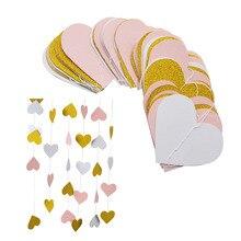 3 meter Sparkle Herz Papier Girlande Herz String Flagge Vorhang Quasten Hochzeit Geburtstag Baby Shower Party Dekoration Lieferungen