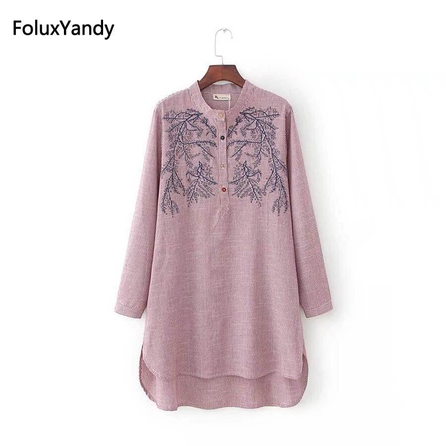 Stehkragen Lange Bluse Shirt Frauen Plus Größe 3 4 XL Stickerei Casual Gestreiften Shirts KKFY82