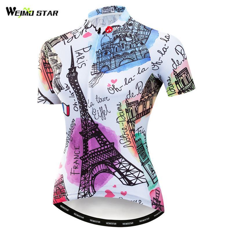 Weimostar verão camisa de ciclismo das mulheres mountain bike roupas equipe frança uniforme ciclismo wear secagem rápida mtb camisa da bicicleta