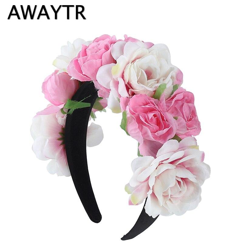 AWAYTR 2019 New Women Girls Wedding Headband Kids Party Floral Garlands Flower Crown Rose Wreath Hairband Pink Hair Accessories