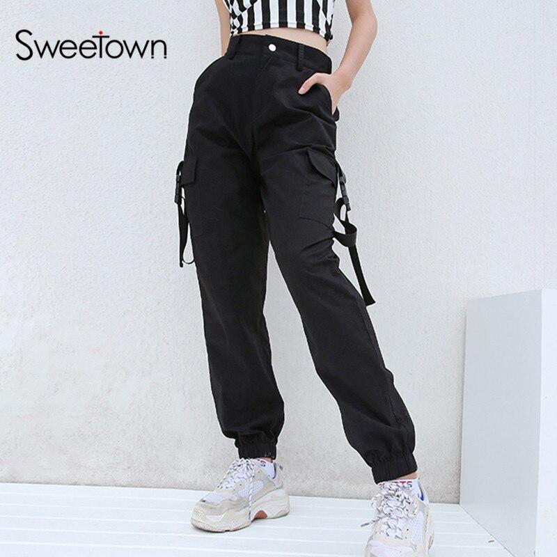 Sweetown pantalones Cargo Harajuku de talla grande negros de cintura alta para mujer