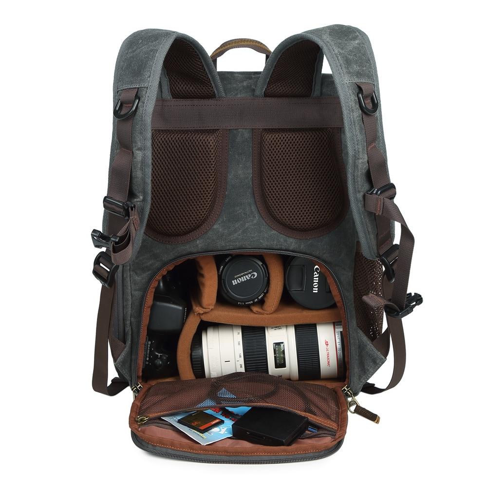 الباتيك قماش + جلد الصورة حقيبة خمر حقيبة ظهر للسفر التصوير مبطن DSLR كاميرا حالة ل كاميرا/عدسة/ترايبود/ محمول