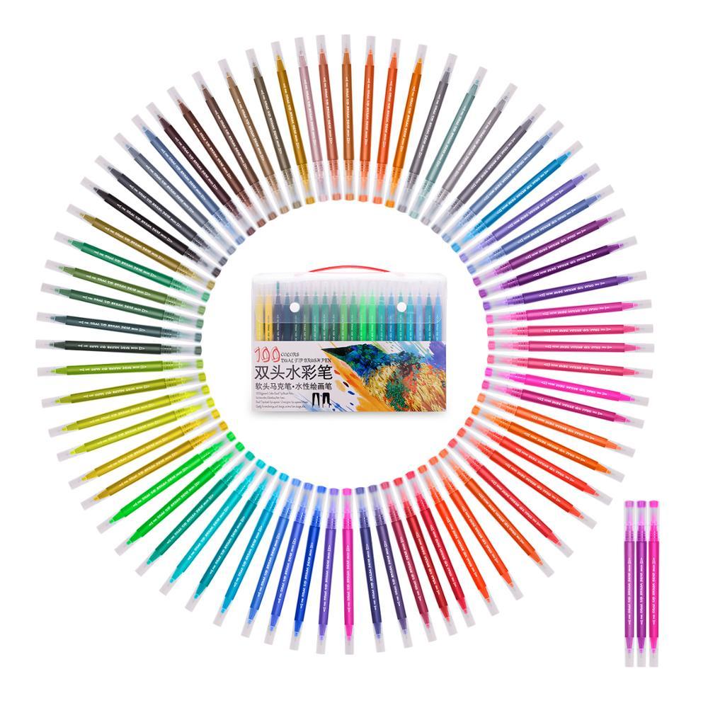 Акварельные Маркеры Ручка со смываемыми чернилами Рисование картина двойной
