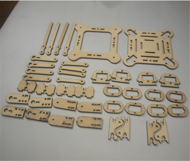 Kit de madera de Robot cuadricóptero DIY kit de placa de corte por láser de 3mm kit de piezas mecánicas cuadrupeadas