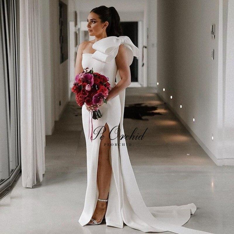 PEORCHID De satén blanco vestido De boda sirena un hombro con arco...