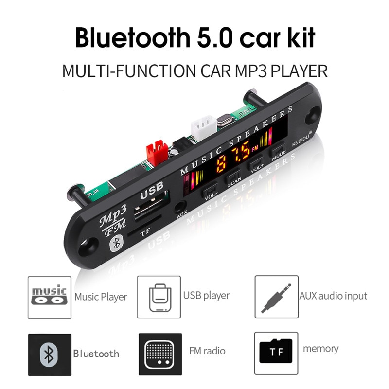 KEBIDU Drahtlose Bluetooth 5,0 MP3 WMA Decoder Board Auto MP3 Player Audio USB TF FM Radio Modul 5V 12V Fernbedienung Für Auto