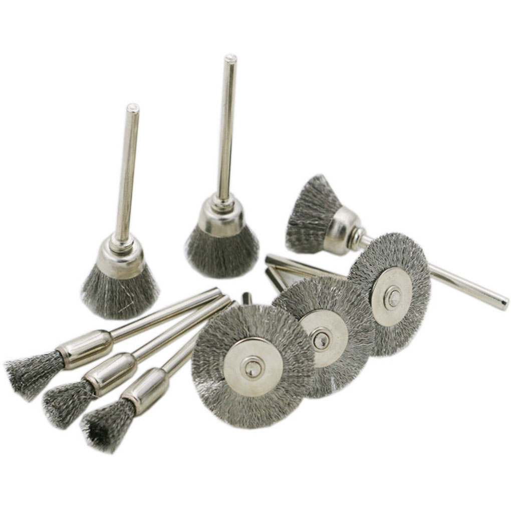 10pcs/Set Electric Grinding Wire Brushes Steel Rotary Brushes Wire Wheel Brushes Grinder Rotary Tools steel wire Brushes
