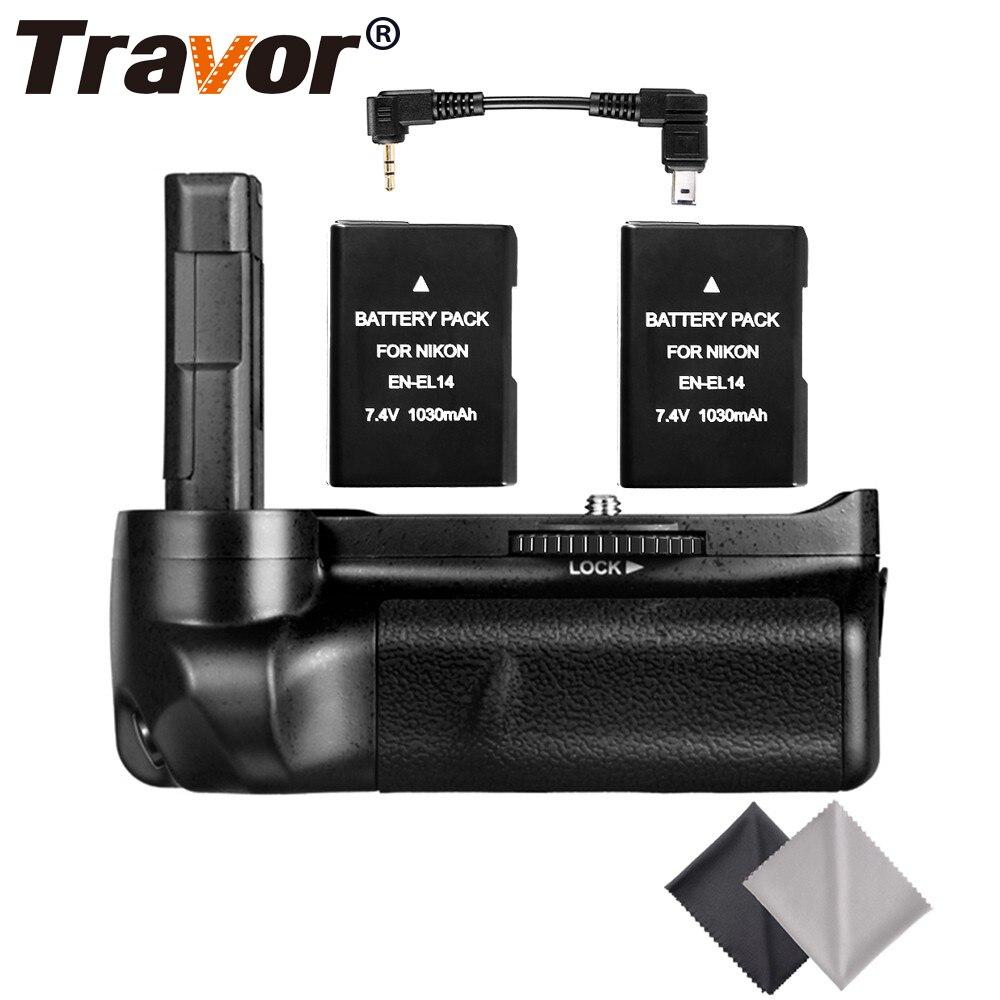 Profissional multi aperto da bateria de potência para nikon d3300 d3200 d3100 dslr camera + 2 pçs EN-EL14 bateria 2 pçs lente pano