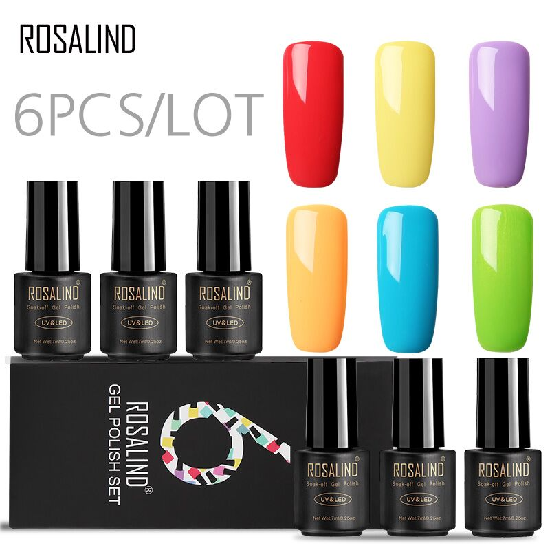 ROSALIND Gel Nail Polish Set 6PCS/LOT 7ML Colors Gel of Nails Semi Permanent Set for UV Manicure Nail Art Gel Varnish Lacquer