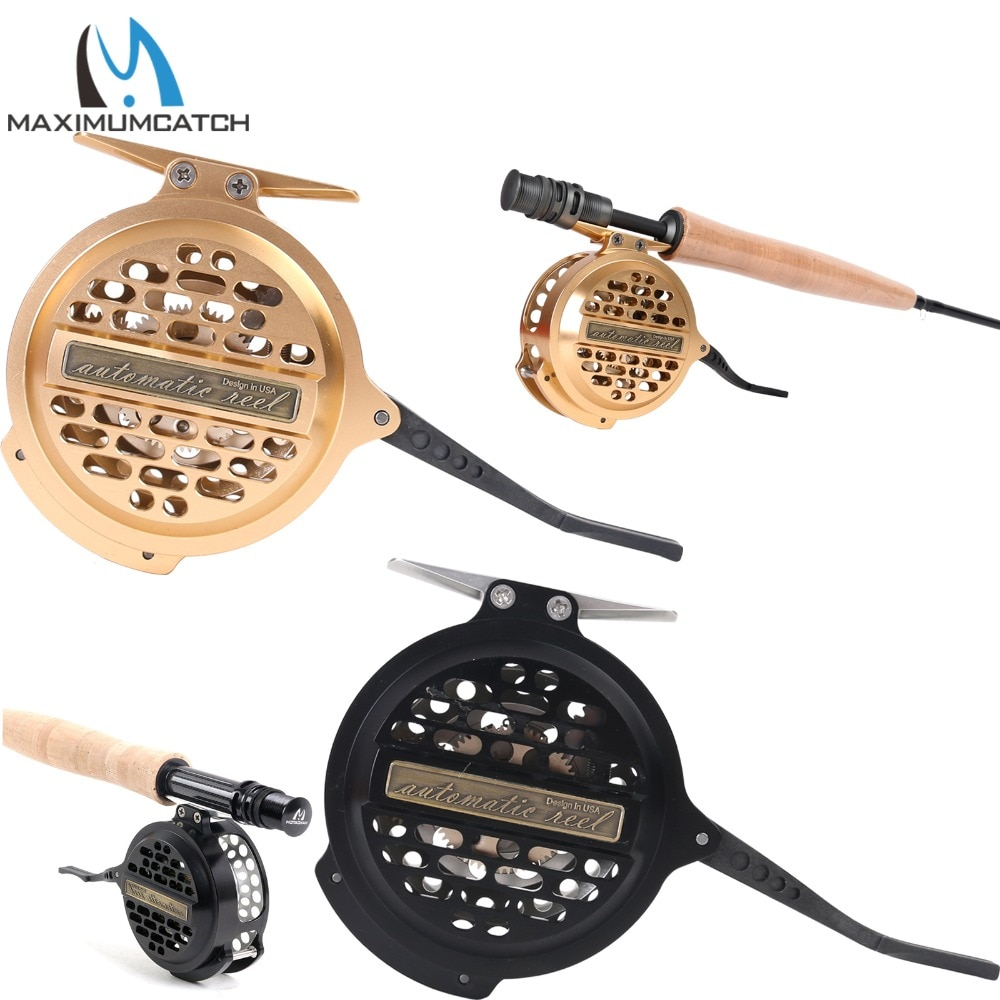 Maximumcatch Automatic Fly Fishing Reel Machined Aluminum Y4 70 Super Light Silver/Black Fly Reel