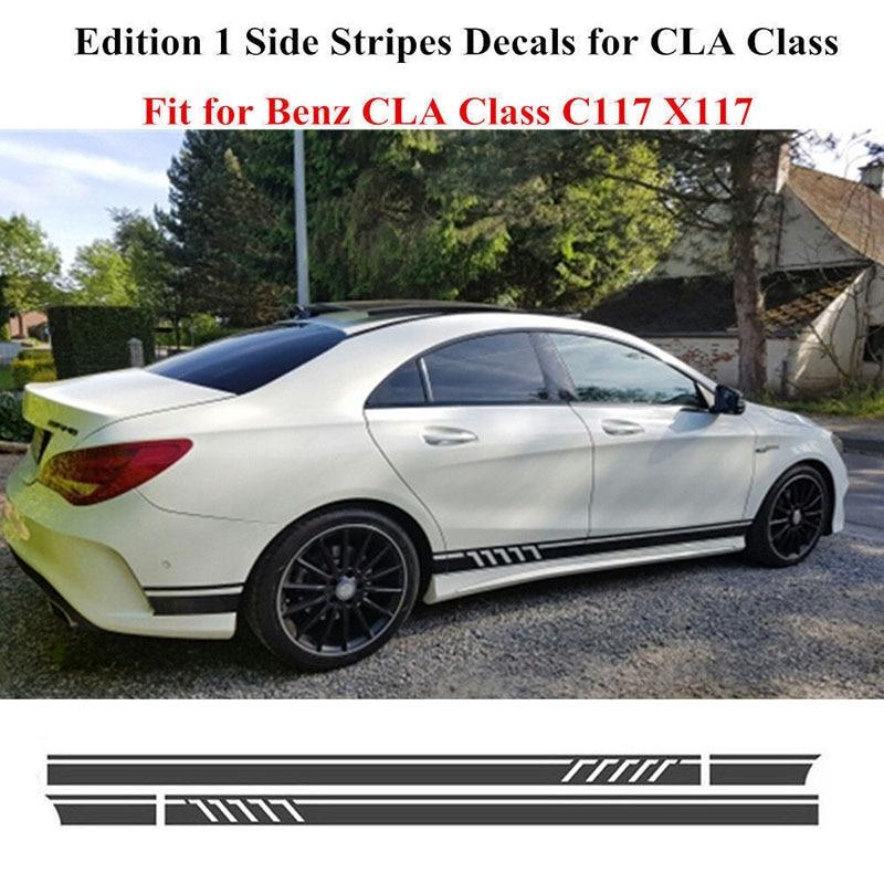 2pcs Stylish Car  Side Stripe Stickers for Mercedes Benz W117 C117 X117 CLA AMG
