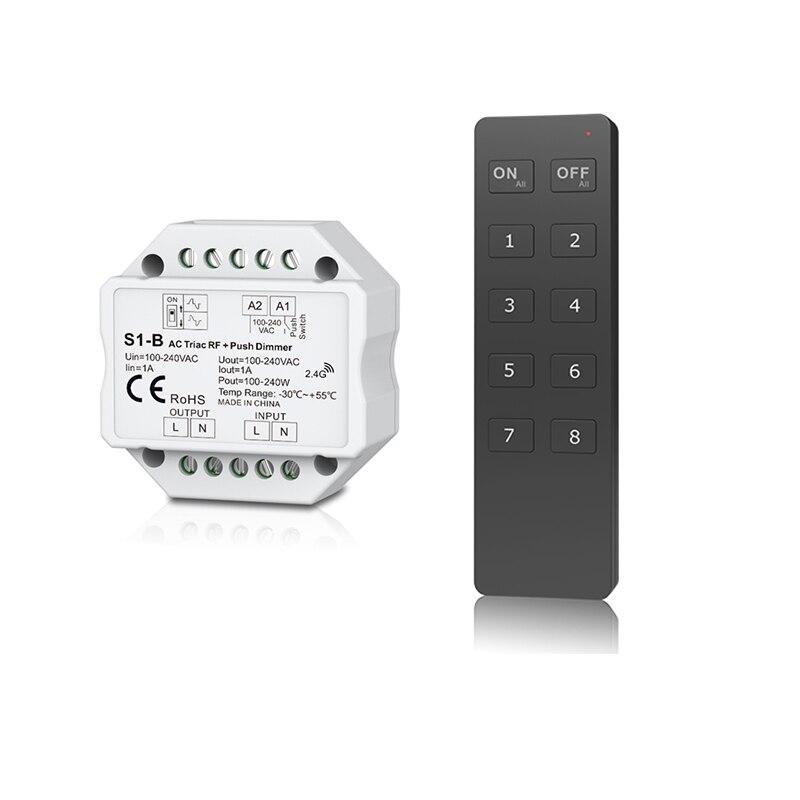 New Led Triac Dimmer S1-B AC 100-240V Input 2.4GHz RF Wireless Remote RU8 8 zone Control AC Triac Led dimmer Push Dimmer Switch
