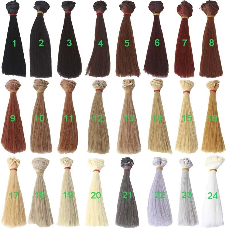 20 قطعة/الوحدة مستقيم دمية الشعر 15 سنتيمتر 25 سنتيمتر الباروكة الشعر BJD خصلة للدمى